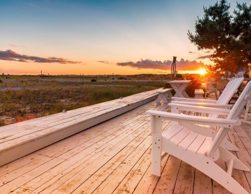beach chairs sunset