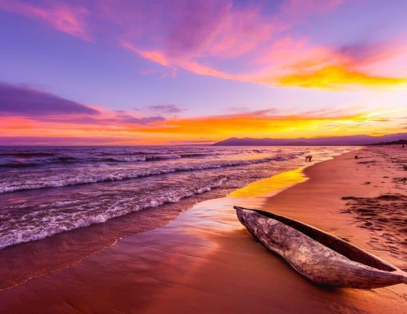 boat sunset beach