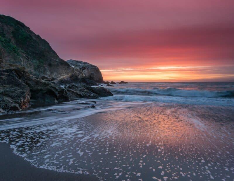 mountain beach sunset