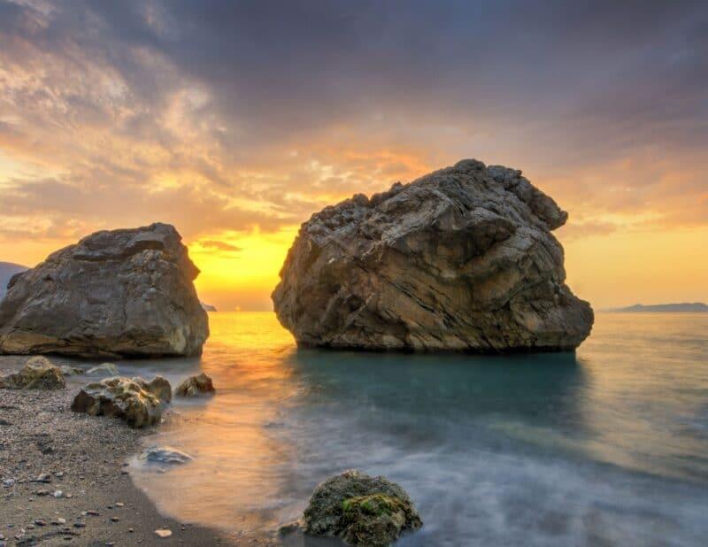 ocean rock sunset 1