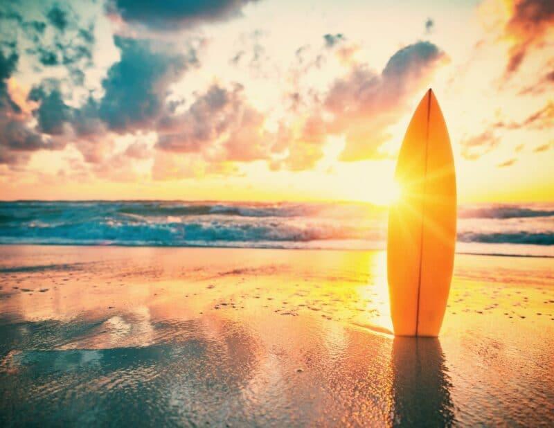 surf board sunset