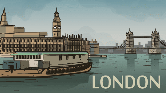 London-Postcard - Big Ben on the Thames
