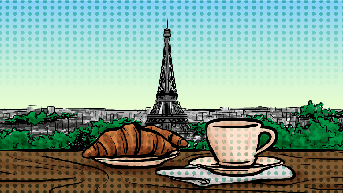 best-croissants-in-paris-eiffel tower and croissant with coffee
