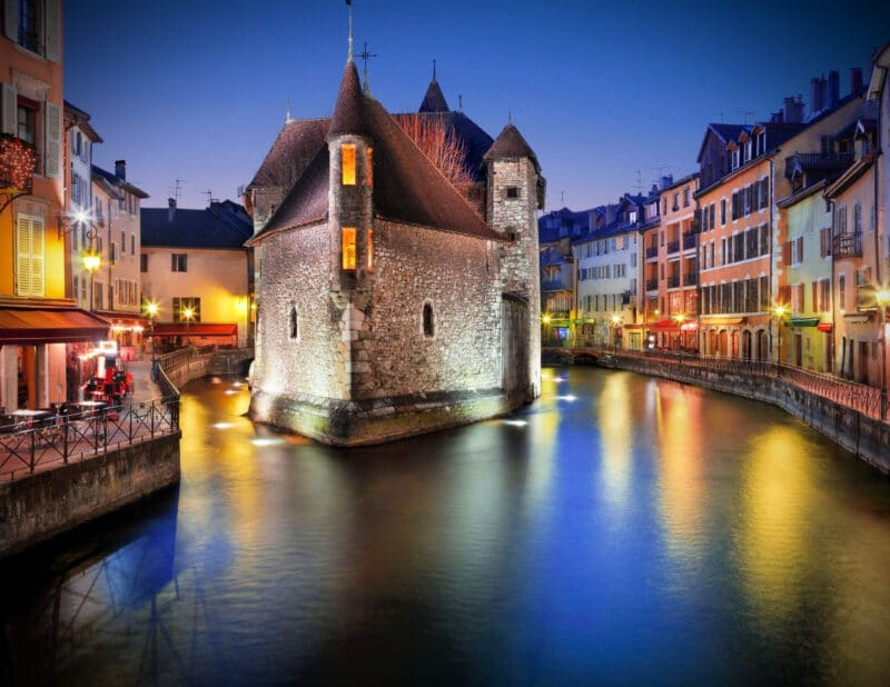 Annecy France nighttime