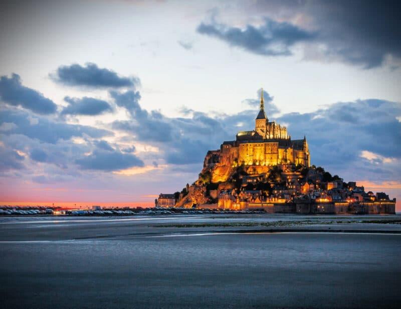 Mont Saint Michel Abbey sunset France