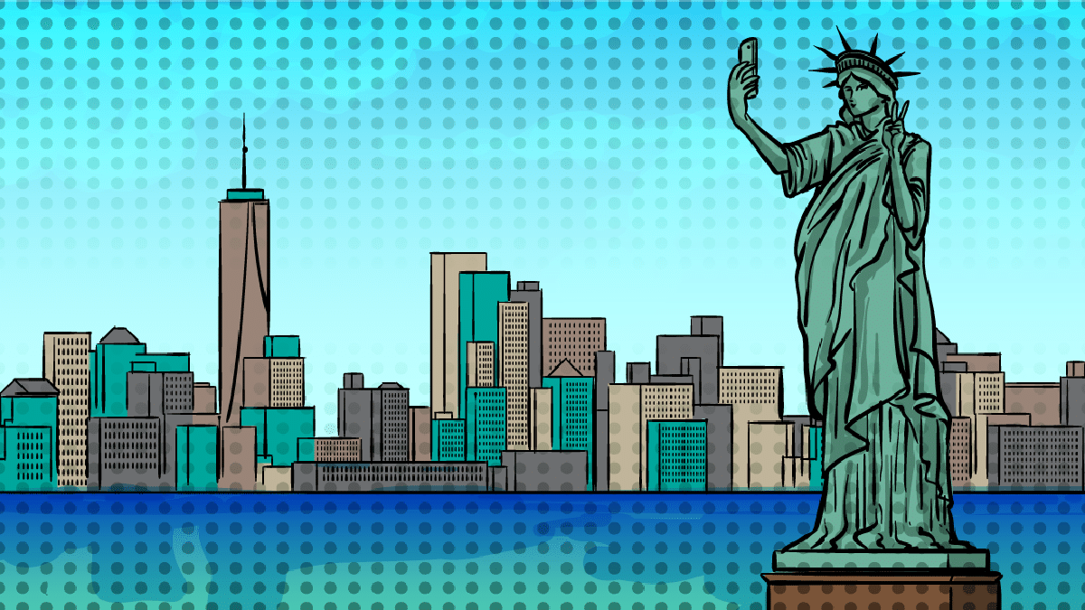 NYC-Instagram-captions-Statue of Liberty Taking a Selfie with NYC in background