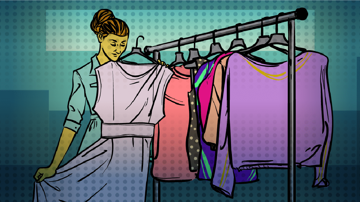 best-thrift-shops-in-nyc-cartoon of woman shopping in thrift store and holding up a vintage purple dress