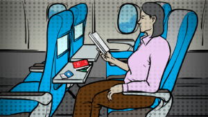 books-to-read-on-a-plane-mature woman reading on a plane - animated
