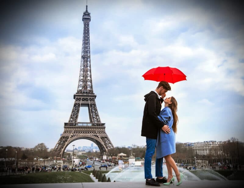 Couple in Front of Tower Paris