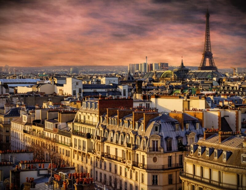 Eiffel Tower City Skyline