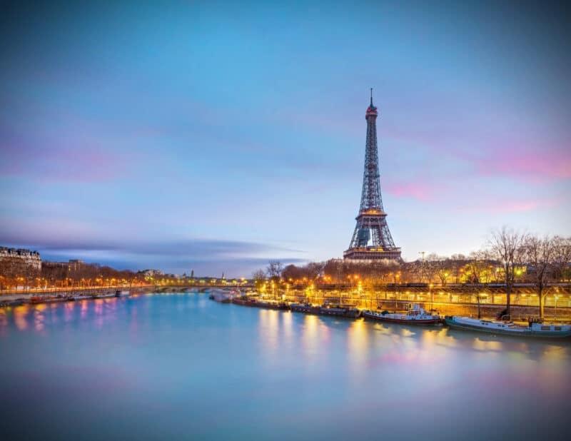 Eiffel Tower by Seine at Dusk