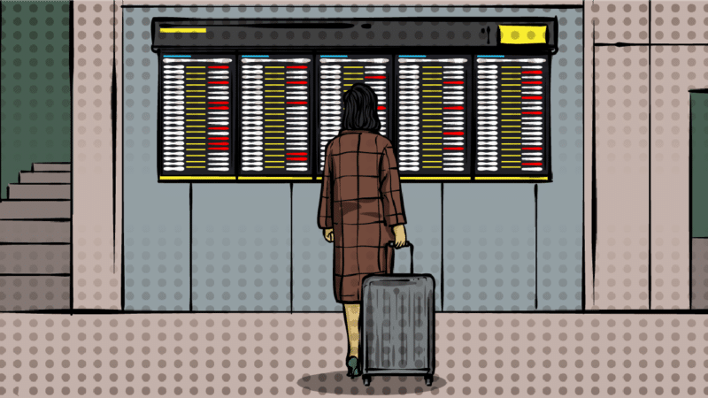 Long-Layover-Guide-cartoon of woman at airport departures board.png
