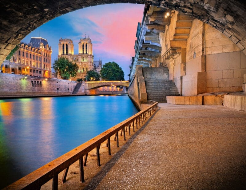 Notre Dame by the Seine at Sunset