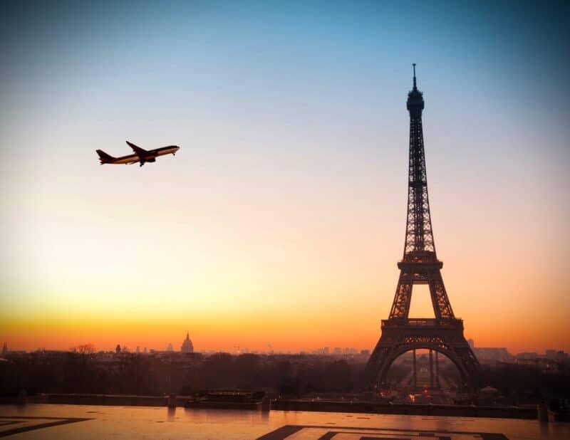 Paris plane sunset