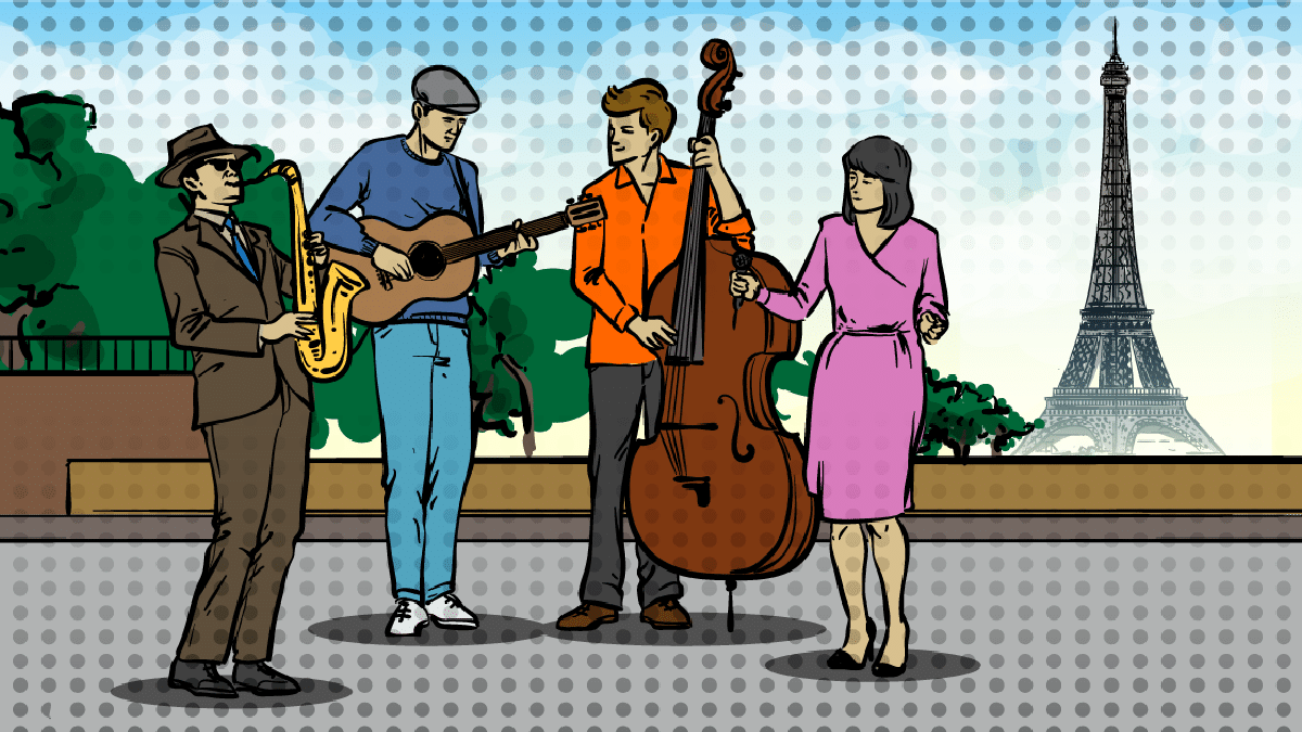 Songs-About-Paris-cartoon of musicians and a singer in front of Eiffel Tower.png