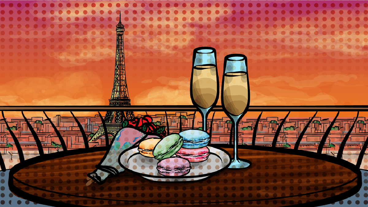 The Best Macarons in Paris - illustration of Paris at sunset, a table with pastel macarons, roses, champagne, and the Eiffel Tower in the Distance