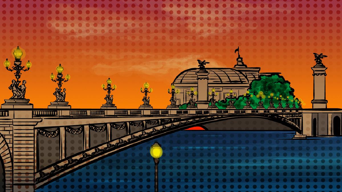 Pont Alexandre bridge in Paris at sunset