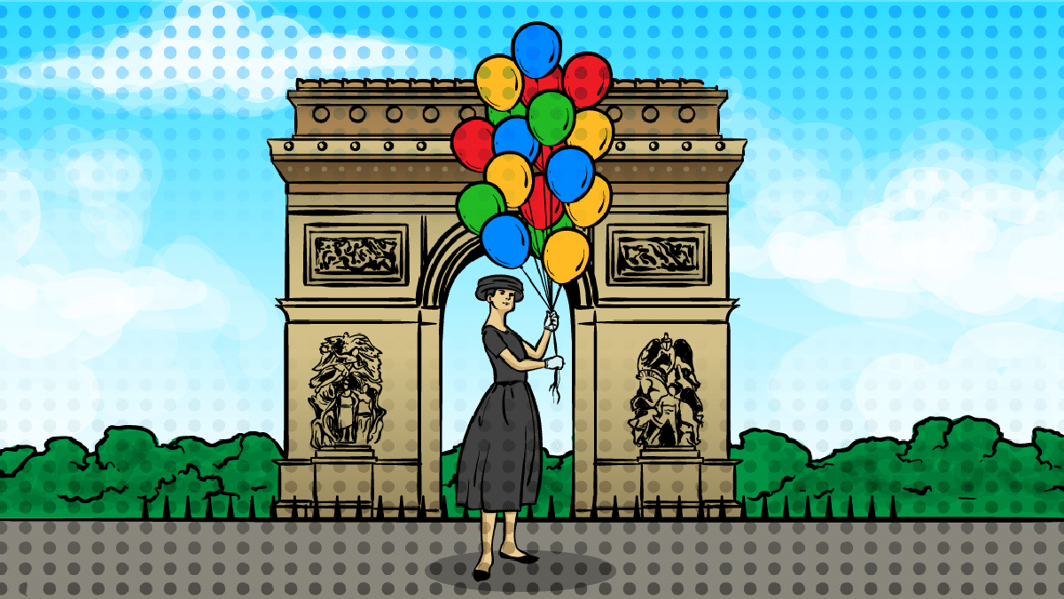 Solo Travel Paris - Girl with balloons in front of the Arc de Triomphe