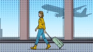 best-carry-on-luggage-for-women-cartoon of woman wheeling baggage through airportpng