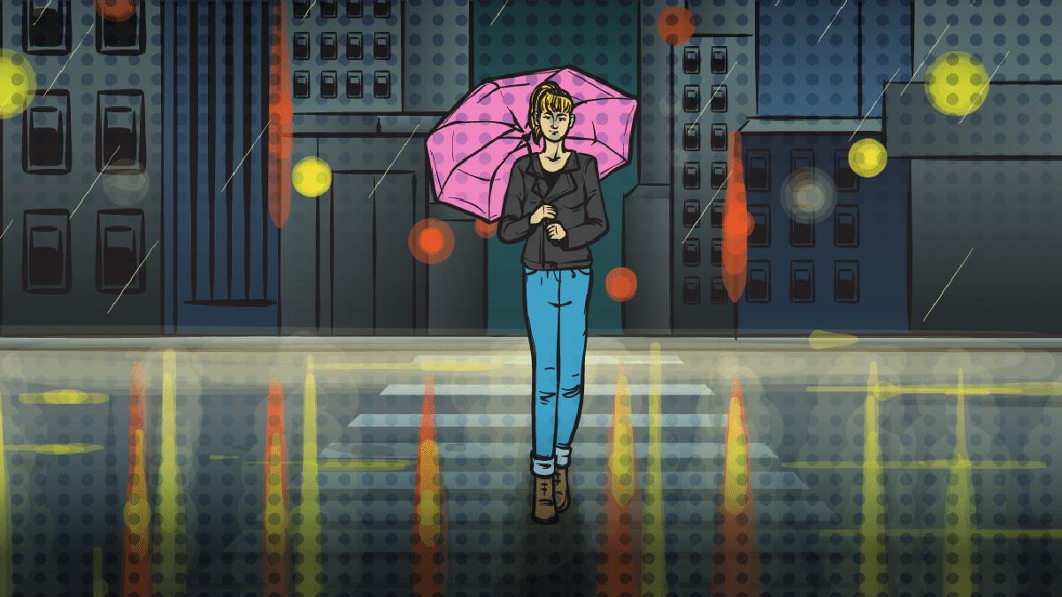 rainy day activities nyc cartoon of girl walking in NYC in the rain