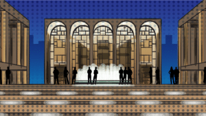 things-to-do-on-the-upper-west-side-cartoon of lincoln center NYC at night