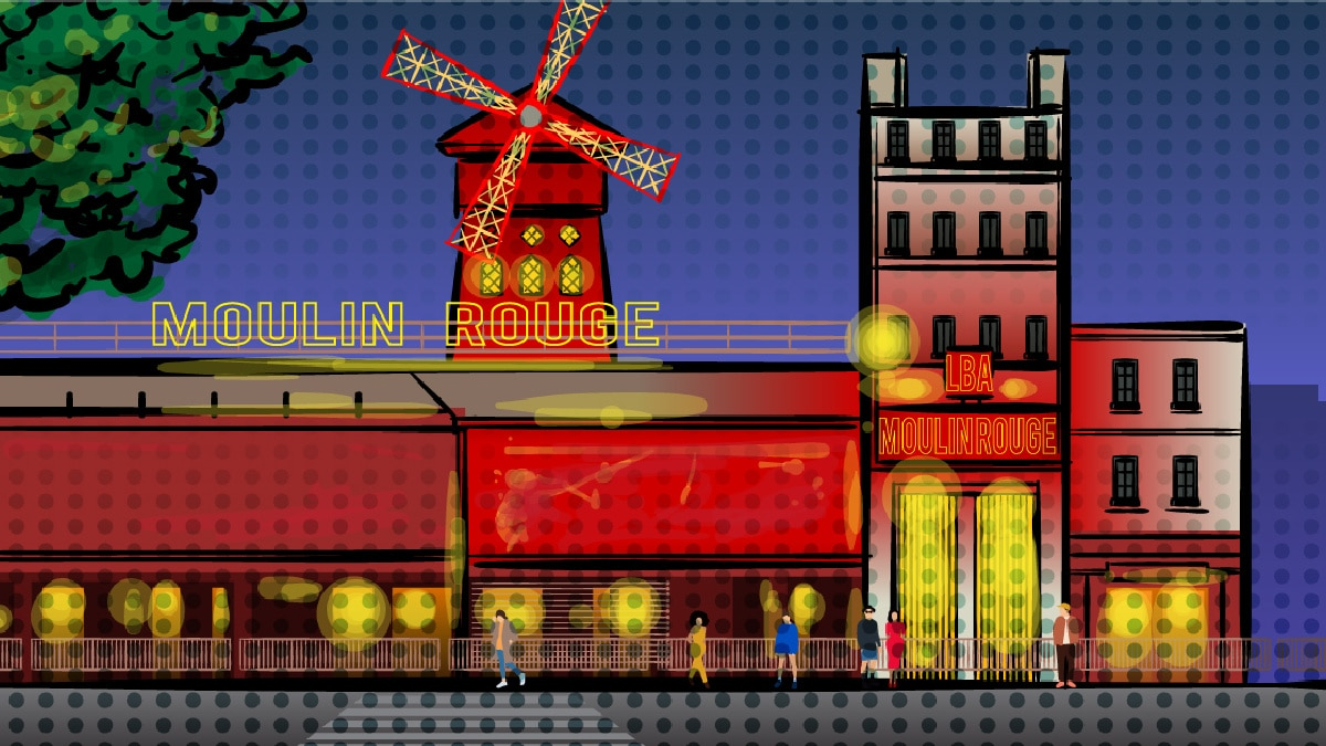 4-days-in-Paris-cartoon of the Moulin Rouge