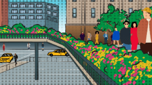 things-to-do-near-the-highline-cartoon of people walking on the Highline - NYC1