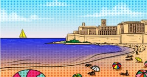 Best Things to Do in Antibes - France - Cartoon of beach